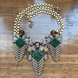 EUC J. Crew Feather Statement Necklace, gold chain